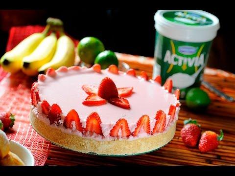 Pay de yogurt con fresas sin hornear – Postre fácil – Cocina al Natural