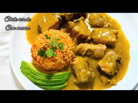 Costillas de puerco en salsa verde con masa o tapado ( receta de rancho) con arroz rojo