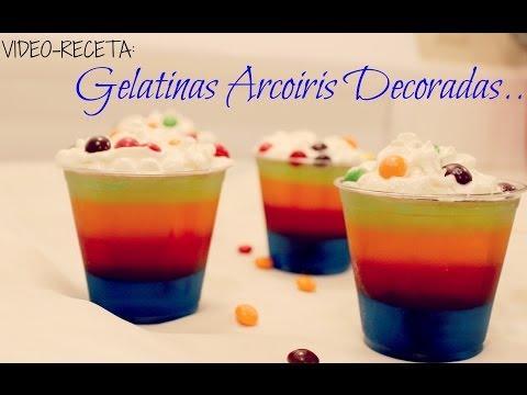RECETA: GELATINAS DE ARCOIRIS DECORADAS!! IDEA POSTRE CUMPLEAÑOS PARA NIÑOS!!
