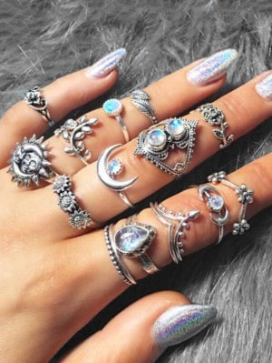 14 Piece Ethnic Moon Star Ring Set