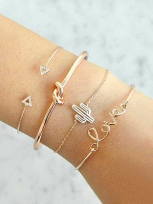 Vintage Rhinestone Arrow LOVE Alloy Bracelet Set